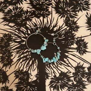 Jewelry - Faux Turquoise Hoop Earrings